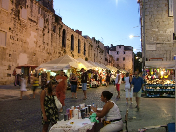 Street market at dusk, Split