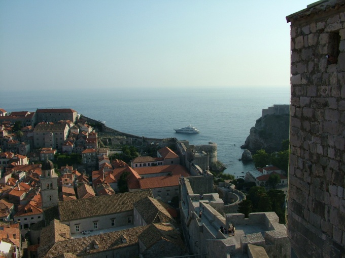Looking down on Dubrovnik from the towering city wall